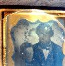 Fotografía antigua: AMBROTIPO PADRE E HIJO CIRCA 1855-60 ESTUCHE MADERA FORRADA CON PIEL GRABADA. Lote 83904852