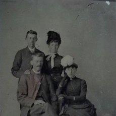 Fotografía antigua: FERROTIPO AMERICANO 1860-1880 USA DOS PAREJAS ELEGANTES. Lote 110348979