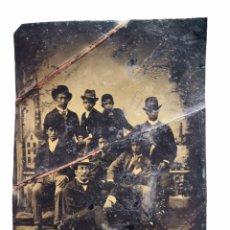 Fotografía antigua: INTERESANTE FERROTIPO CUBA PUERTO RICO NEGROS HOMBRES NIÑOS TRAJES SOMBREROS MITAD SIGLO XIX 6,5X9 C. Lote 122604598