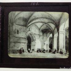 Fotografía antigua: BILBAO - PORTICOS DE LA IGLESIA DE SANTIAGO - ANTIGUO CRISTAL PARA LINTERNA MAGICA - AÑOS 1930. Lote 129586919