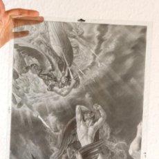 Fotografía antigua: IMPRESIONANTE DIBUJO ANGELES Y DEMONIOS CRISTAL, FOTOMECANICA, 30X40 CM. Lote 132430874