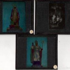 Fotografía antigua: TRES PLACAS DE VIDRIO CON FIGURAS DE SANTOS - AÑOS 1920. Lote 140246890