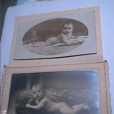 Fotografía antigua: LOTE 2 FOTOGRAFIAS POSADOS DE BEBES. PRINCIPIOS S.XX FOTOGRAFOS P.CLARET PARIS Y CARRERA BARCELONA. Lote 142721150