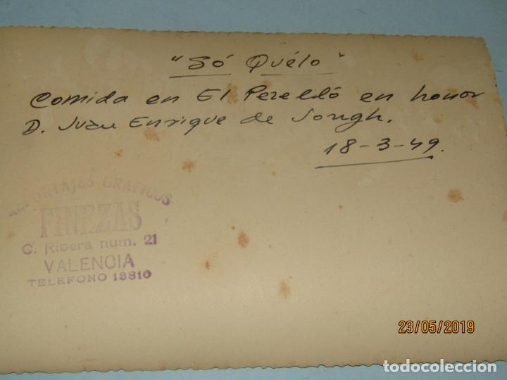 Fotografía antigua: Antigua Fotografía de FINEZAS Fallas de Valencia *SÓ QUÉLO* Comida en el Perelló - Año 1949 - Foto 3 - 165653538