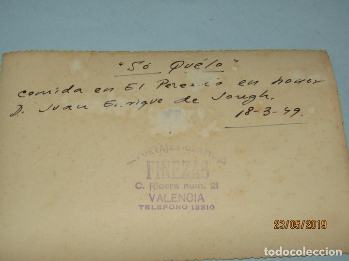Fotografía antigua: Antigua Fotografía de FINEZAS Fallas de Valencia *SÓ QUÉLO* Comida en el Perelló - 18 de Marzo 1949 - Foto 2 - 165653946