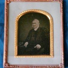 Fotografía antigua: ANTIGUO AMBROTIPO - PLACA DE CRISTAL - FOTOGRAFÍA B&N - DAGUERROTIPO - ENMARCADO - LATÓN - FILIGRANA. Lote 177835739