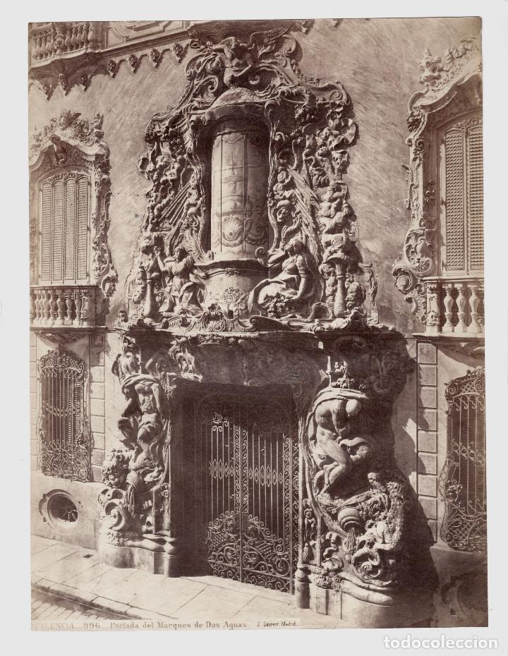 VALENCIA - 896. PORTADA DEL MARQUÉS DE DOS AGUAS. FOTO: J. LAURENT. 25X33,5 CM. (Fotografía Antigua - Ambrotipos, Daguerrotipos y Ferrotipos)