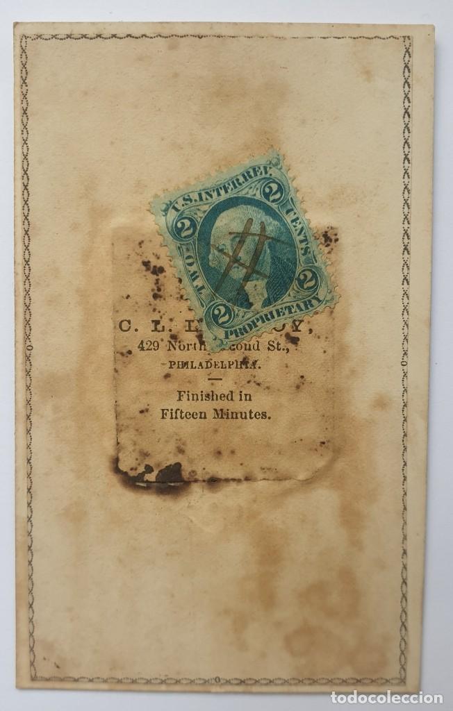Fotografía antigua: RARO FERROTIPO TIPO CDV CON SELLO DE IMPUESTO DE GUERRA EPOCA GUERRA CIVIL AMERICANA USA - Foto 4 - 192133293