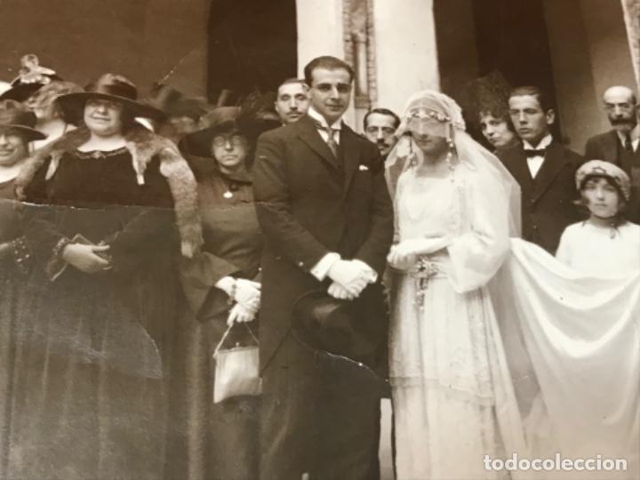 Fotografía antigua: Antigua foto boda posando novia con velo sello f llorente casa gallego 23,2x17,2 - Foto 2 - 199395863
