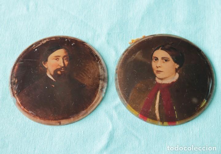 Fotografía antigua: Pareja de fotografías repintadas. Pair of Ambrotype photographs. - Foto 8 - 204426091