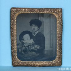 Fotografía antigua: DAGUERROTIPO HERMOSO UNA MADRE CONSU NIÑO. DAGUERREOTYPE OF A MOTHER WITH HER CHILD.. Lote 119945954