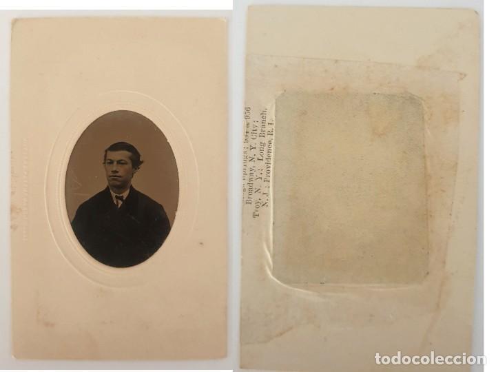 FERROTIPO DATOS REVERSO AMERICANO TIPO CDV 1860-1880 (Fotografía Antigua - Ambrotipos, Daguerrotipos y Ferrotipos)