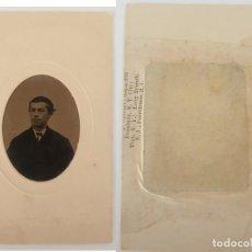 Fotografía antigua: FERROTIPO DATOS REVERSO AMERICANO TIPO CDV 1860-1880. Lote 205710006