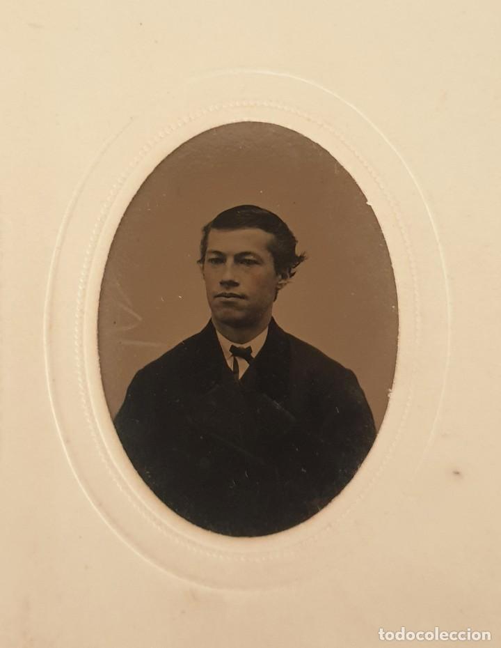 Fotografía antigua: FERROTIPO DATOS REVERSO AMERICANO TIPO CDV 1860-1880 - Foto 2 - 205710006