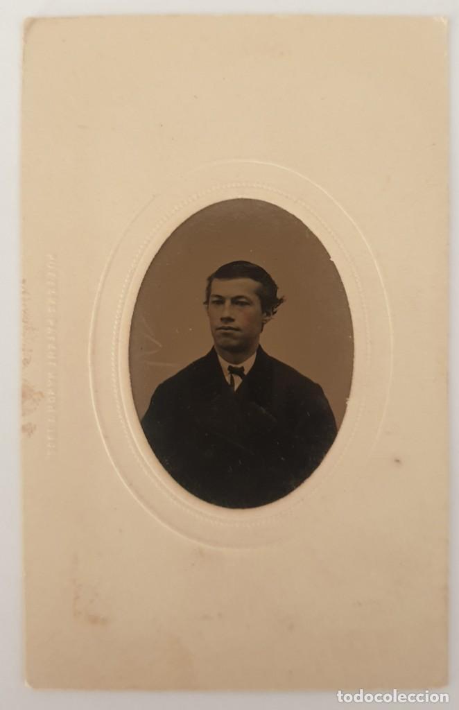 Fotografía antigua: FERROTIPO DATOS REVERSO AMERICANO TIPO CDV 1860-1880 - Foto 4 - 205710006