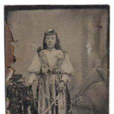 Fotografía antigua: USA ANTIQUÍSIMA PLACA METÁLICA FERROTIPO ORIGINAL TINTYPE DE UNA NIÑA, 1870´S M. Lote 289617913