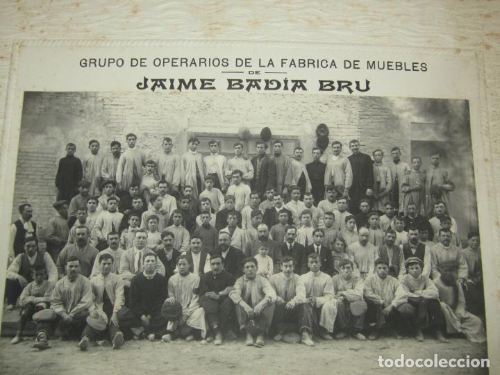 Fotografía antigua: Antigua Fotografía de Gran Tamaño Grupo de Operarios Fábrica de Muebles de JAIME BADIA BRU - 1920s. - Foto 4 - 219703378