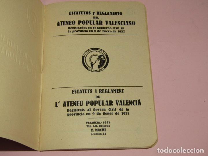 Fotografía antigua: Antiguo Librito ESTATUTOS y REGLAMENTO del Ateneo Popular Valenciano - Guerra Civil Año 1937 - Foto 2 - 221449171