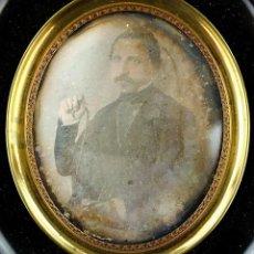 Fotografía antigua: DAGUERREOTIPO DE PERSONAJE, 1850'S. PROCEDENCIA: BARCELONA CIUDAD. MARCO: 11X12 CM.. Lote 224158441