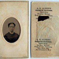 Fotografía antigua: AUGUSTUS EPHRAIM ALDEN FERROTIPO AMERICANO LIGERAMENTE COLOREADO. Lote 228799300