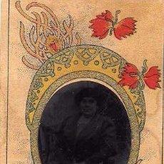 Fotografía antigua: FERROTIPO, RETRATO DE MUJER CON ORLA MODERNISTA. 9,50 X 6 CM. Lote 235950835