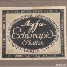 Fotografía antigua: CAJA AGFA EXTRARAPID PLATTEN. CON 11 AMBRIOTIPOS. AGFA BERLIN S .O. 36. Lote 249483455