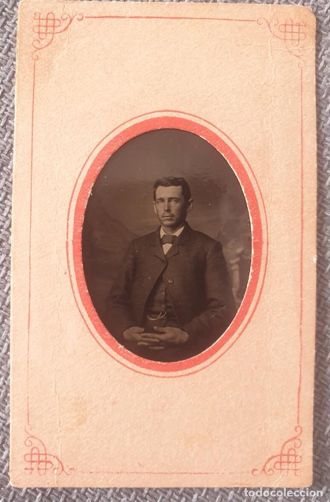 Fotografía antigua: Ferrotipo caballero americano tamaño Carte de visite 10 x 6 aproximadamente - Foto 2 - 286988653