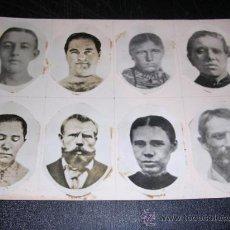 Fotografía antigua: CARTULINA CON 8 FOTOGRAFIAS PEGADAS DIFERENTES PERSONAJES,20X15 CM.. Lote 18296303