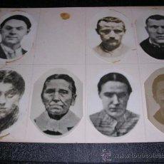 Fotografía antigua: CARTULINA CON 7 FOTOGRAFIAS PEGADAS DIFERENTES PERSONAJES,20X15 CM.. Lote 18296364