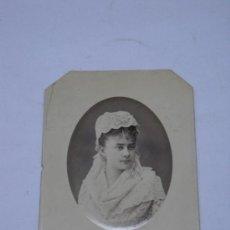 Fotografía antigua: FOTOGRAFIA DE JOSEFINA TOPETE DE SPOTTORNO (SUEGRA DE JOSE ORTEGA Y GASSET)1878 CON DEDICATORIA.. Lote 27284100