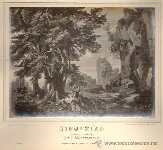 Fotografía antigua: ALBUM FOTOGRAFICO (FOT. ANGERER). ESCENOGRAFIAS DE J. HOFFMANN 'DER RING DES NIBELUNGEN' WAGNER.1876 - Foto 2 - 34269569