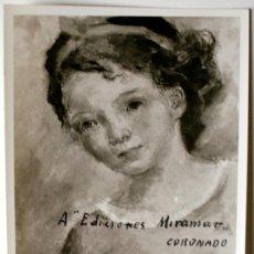 """Fotografía antigua: FOTOGRAFIA DE LA OBRA """"ADOLESCENTE"""" DE PABLO CORONADO (FOTOS VENTURA, MADRID) DEDICADA POR EL PINTOR. Lote 35987635"""