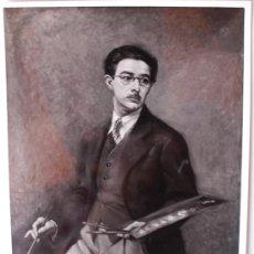 Fotografía antigua: FOTOGRAFÍA DE UNA PINTURA AUTORETRATO DEL PINTOR BURGALÉS, FRANCISCO SAINZ DE LA MAZA, 1947 . Lote 36805738