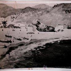 Fotografía antigua: FOTOGRAFÍA DE UNA OBRA DEL PINTOR CATALÁN, JOSEP MOMPOU . Lote 37175202