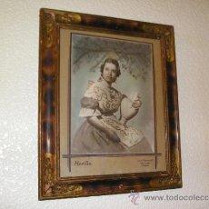Fotografía antigua: **ANTIGUO CUADRO CON ¿--FOTO-DIBUJO--? DE SEÑORITA VESTIDA DE FALLERA(TIPICO VALENCIA) COLOREADO**. Lote 37466766