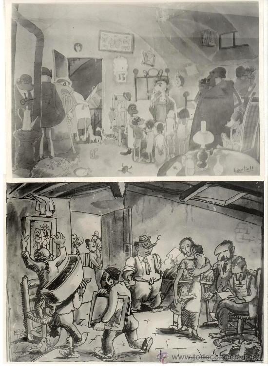 2 FOTOGRAFIAS DE 2 DIBUJOS REPRESNTANDO AL GRUPO DE DIBUJANTES 'ELS 6'. 1934.15X21CM.BENIGANI,NEL.LO (Fotografía - Artística)