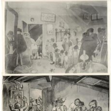 Fotografía antigua: 2 FOTOGRAFIAS DE 2 DIBUJOS REPRESNTANDO AL GRUPO DE DIBUJANTES 'ELS 6'. 1934.15X21CM.BENIGANI,NEL.LO. Lote 38588316