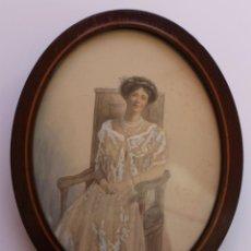 Fotografía antigua: RETRATO DE MUJER IMPRESO POR EL PROCESO DE KATE PRAGNELL CHIARONI 1910 ENMARCADO. Lote 40541174