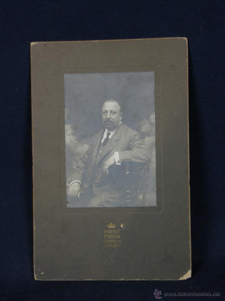 FOTOGRAFÍA SEÑOR CABALLERO DEDICADA REVERSO CORUÑA 1908 FOTÓGRAFO GIMENEZ SAN ANDRÉS (Fotografía - Artística)