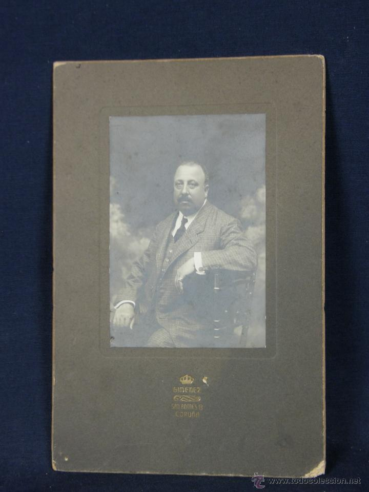 Fotografía antigua: Fotografía señor Caballero dedicada reverso Coruña 1908 fotógrafo Gimenez San Andrés - Foto 6 - 41110017