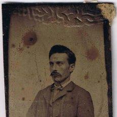 Fotografía antigua: ANTIGUA FOTOGRAFIA SOBRE BASE METÁLICA - HOMBRE - FOTO ADICIONAL. Lote 42612151