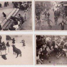 Fotografía antigua: TOROS Y TAUROMAQUIA, 5 FOTOGRAFIAS ENCIERRO DE SAN FERMIN EN PAMPLONA, AÑOS 30, CON COJIDAS DE MOZOS. Lote 43556219