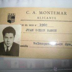Fotografía antigua: ALICANTE CARNET ANTIGUO DEPORTES CLUB ATLETICO MONTEMAR CAM CON SELLO OFICIAL. Lote 43961797