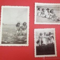 Fotografía antigua: POSANDO EN LA PLAYA DE GIJÓN. Lote 44384255
