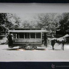 Fotografía antigua: FOTOGRAFÍA BLANCO Y NEGRO COCHE TRANVÍA TIRADO POR CABALLOS WASHINGTON ANACOSTIA 20 23 X 18 CM. Lote 44685113