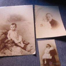 Fotografía antigua: 3 BONITAS FOTOGRAFIAS ANTIGUAS DE ESTUDIO- NIÑOS Y ABUELA. Lote 44695241