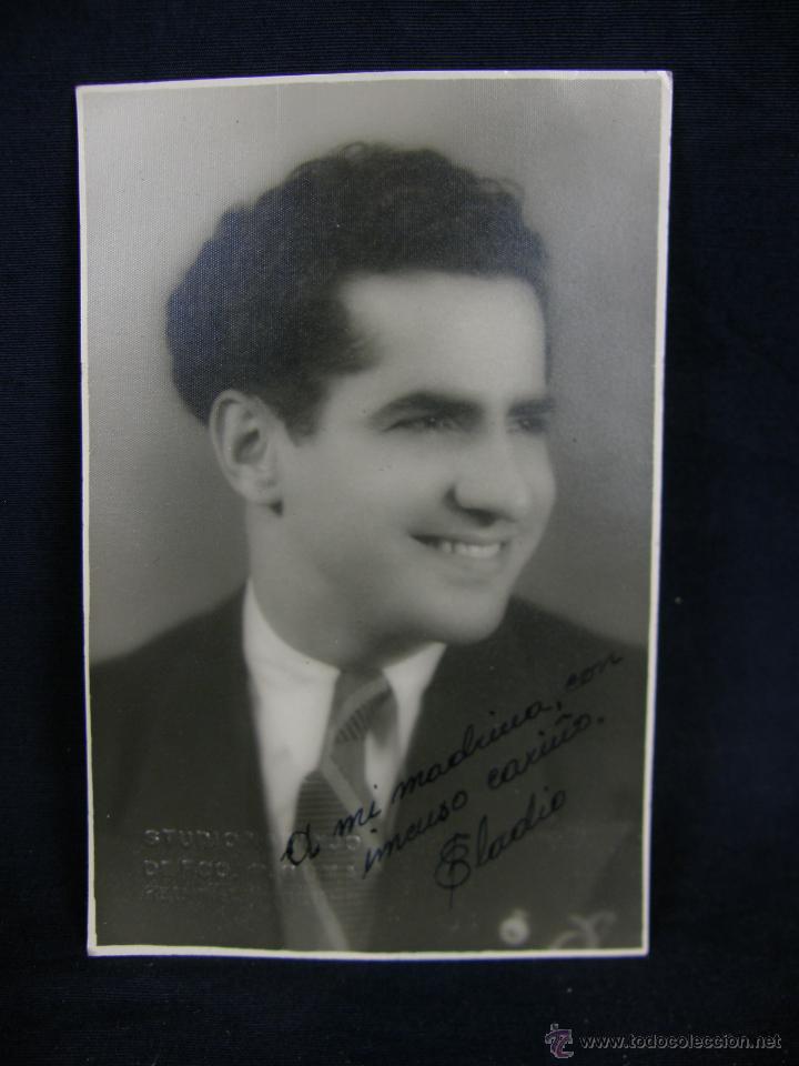 Fotografia retrato hombre con corbata Estudio Naranjo de Fco. P. Guma Habana dedicada fechada 1937, usado segunda mano