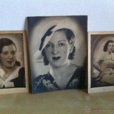 Fotografía antigua: LOTE DE 3 FOTOGRAFÍAS ANTIGUAS. FOTOGRAFÍA GALÁN. CALLE ALCALÁ 9.MADRID.PROTAGONISTA DE NOMBRE MARÍA. Lote 46750974
