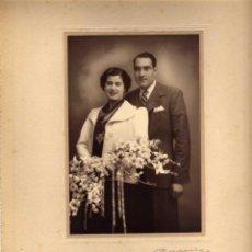 Fotografía antigua: ANTIGUA FOTOGRAFIA RECIÉN CASADOS - BANÚS - BARCELONA. Lote 47688651