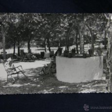 Fotografía antigua: SILLAS PLEGABLES TUMBONAS EN JARDIN EN TORNO A POZO 9X14CMS. Lote 48632621